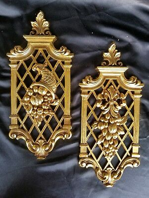 Vtg Homco Syroco Home Interiors Ornate Gold Fruit Wall Decorations