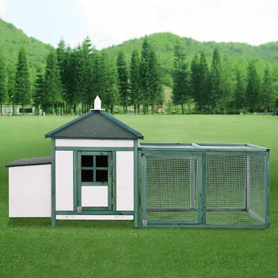 77'' Wooden House Large Chicken Coop Hen Cage with Nesting Box and Run Backyard