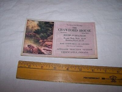 Vintage THE CRAWFORD HOUSE Ink Blotter GREENCASTLE INDIANA w Prices - Hotel