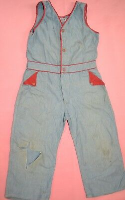 Vintage CHILD 1940s 1950s Freeland Sanforized Denim Romper One Piece Jumpsuit