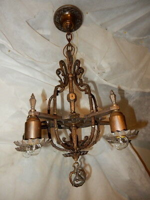 Arts & Crafts Spanish Revival Hammered Cast Bronze Pendant Hanging Fixture Chand
