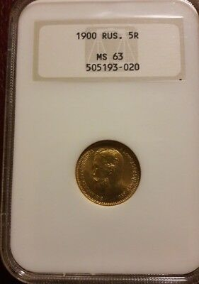 1900 Russia 5 Roubles Gold Coin   NGC MS63 OLDER SLAB