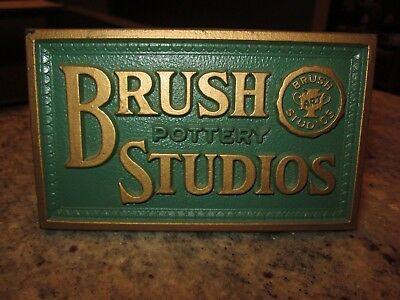 Scarce Brush pottery Studios dealer display sign counter top McCoy green