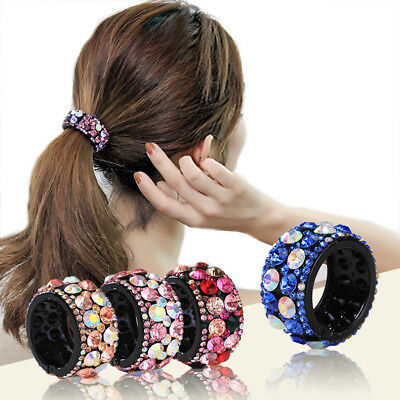 Women's Crystal Hair Ponytail Ring Buckle Holder Hairpin Hair Band Accessories