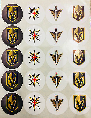 """SET of 20- 2"""" LAS VEGAS GOLDEN KNIGHTS ADHESIVE STICKERS. Make Cupcake Toppers!"""