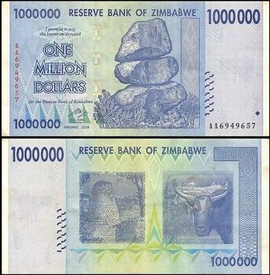 ZIMBABWE 1 Million Dollars, 2008, P-77, World Currency, 100 Trillion Series