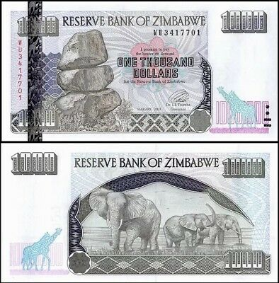 ZIMBABWE 1,000 (1000) Dollars, 2003, P-12b, UNC World Currency