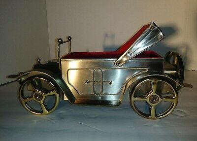 VINTAGE CAR 5 Glasses LIQUOR Decanter MUSIC BOX , Antique Cadillac