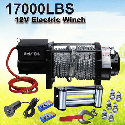 NEW 12V 17000LB Electric Winch Wireless Steel Cable 7711kg 2x Remote 4WD 4X4