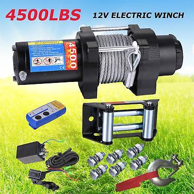 Wireless 4500LBS/2041kg 12V Electric Winch Boat ATV 4WD Steel Cable 1 Remote 4X4