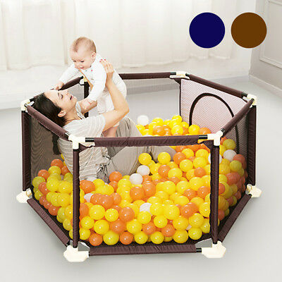 Portable Baby Playard Indoor And Outdoor Playpen 6 Panel Gate 2 Colors Bp