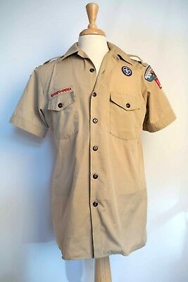 Boy Scouts Official Tan Short Sleeve Shirt Uniform  Men's Medium