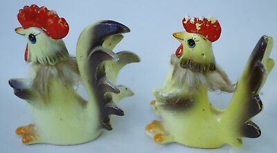 Collectable Decorative Hen And Rooster Salt And Pepper Shakers, Approx. 1960