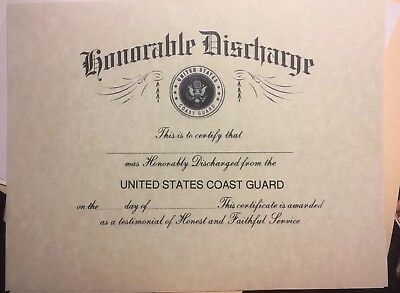U.S.COAST GUARD  Honorable Discharge Certificate. Comes Blank Fill In Own Info