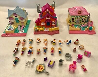 Vintage Polly Pocket 3 Houses * 30 Figures & Accessories