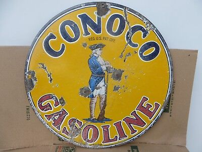 25x25 authentic 1920 Conoco Minute Man Porcelain Sign Gas & Oil Co.