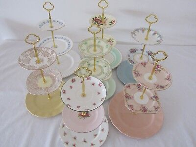3 Tier Large Vintage CAKE STANDS English Fine China High Tea Cup Cakes Wedding K