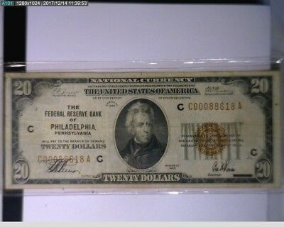 1929 $20 First National Bank of Philadelphia Pa. National Currency ( 50-243 )