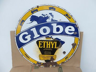 "30"" Round authentic 1920 Globe Ethyl Gasoline Porcelain Sign Gas & Oil Co."