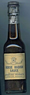 1920's Horse Radish Sauce Bottle Kingsford Products Richmond Glass Stopper Sa.