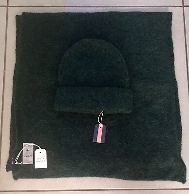 * BNWT JACK WILLS Dark Green Wool Hat and Scarf - Unisex - One Size - RRP £35 *