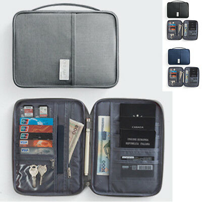 Travel RFID Blocking Card Storage Bag Passport Document Wallet Organizer Holder