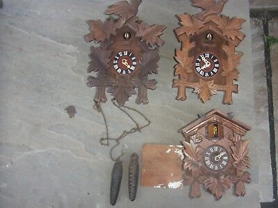 Vintage Cuckoo Clocks 3x Spares or Repair job lot