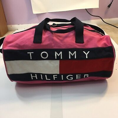 Tommy Hilfiger Women s Large Pink Flag Logo Sport Gym Travel Duffle Bag  Vintage ac6f0f16a9db7