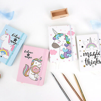"""Unicorn"" 1pc Cute Hard Cover Diary Notebook Lined Freenote Kawaii Journal Memo"
