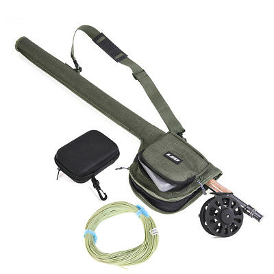 Fly Fishing Combo Set Fly Rod Reel with 20 Flies+Fly Line+Carry Bag+Fly Lure Box