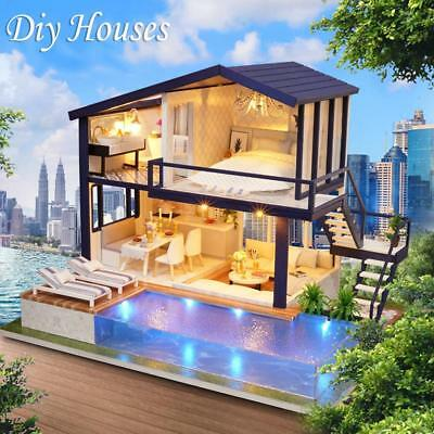 DIY LED Loft Apartments Dollhouse Miniature Wooden Furniture Kit Doll House AU!!