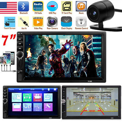 "Bluetooth Car Stereo Radio 2 DIN 7"" HD MP5 FM Player Touch Screen +Rear Camera B"