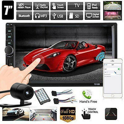 "2-DIN 7"" Car MP3 MP5 Player HD FM Bluetooth Touch Screen Stereo Radio USB/AUX BT"