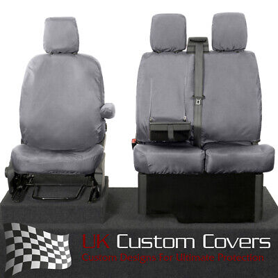 Ford Transit Van Mk8 2018 + Inc Tipper Tailored Front Seat Covers - Grey 120