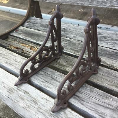 2 Cast Iron Antique Style Brackets, Garden Braces Shelf Bracket RUSTIC FARM