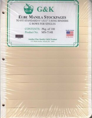 G&K Elbe Manila Stamp Stock Sheets 12 Rows for Singles Pack of 100 New Made USA