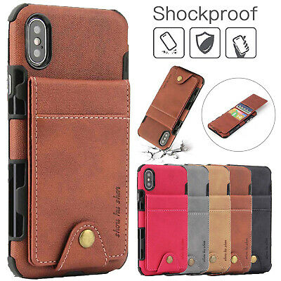 For iPhone XS Max XR 8 7 Card Holder Case Leather Wallet Shockproof Button Cover