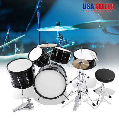 5pcs Complete Kid Junior Drum Set Cymbals Full Size Kit with Drum Stool Black US