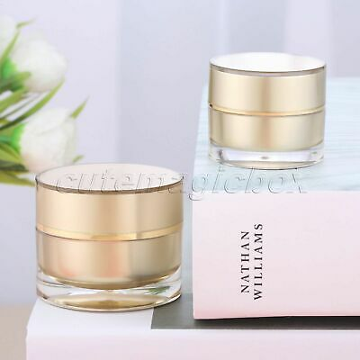 Empty Face Cream Jar Cosmetic Bottle Travel 5g 10g Round Acrylic Gold Container