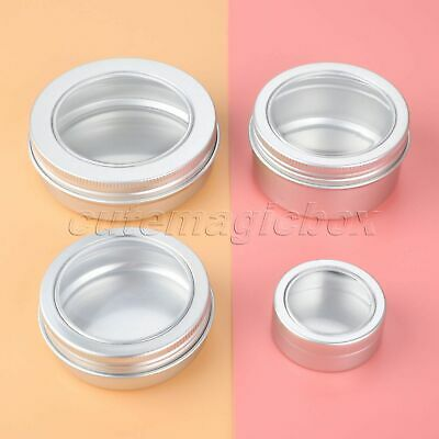 5pcs Cosmetic Containers With Lid Travel Empty Silver 25g-100g Aluminum Pot Jars
