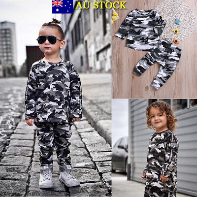 2Pcs Baby Girls Boys Kids Camouflage Tops Pants Autumn Camo Outfits Clothes Set
