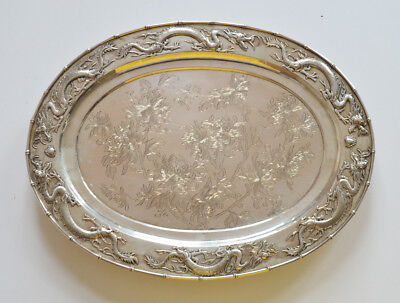 Large 1,2 Kg Antique Chinese Export Silver Tray Canton Shanghai Hong Kong Tc