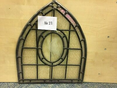 Small Leaded Light, Arch-Shape with Slight Pink Detail with Butterfly Etched