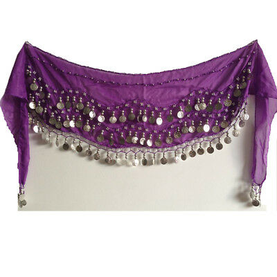 Dark Purple Belly Dance Hip Skirt Scarf Wrap Belt with 3 Rows Silver Coins US