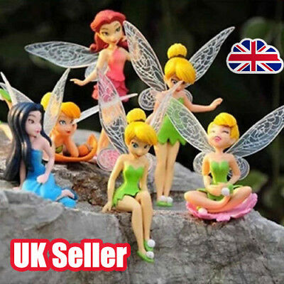 6pcs Tinker Bell Fairies Figures Cake Topper Secret Wing Girl Kids Party Toy  YP