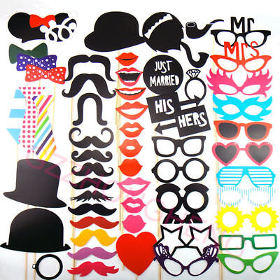 58PCS PHOTO BOOTH Photobooth Wedding Props Moustache On A