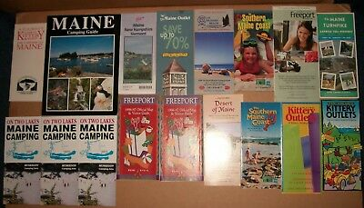 huge lot 17 pc Highway Road Map with Points of Interest Guides Maine ME vintage