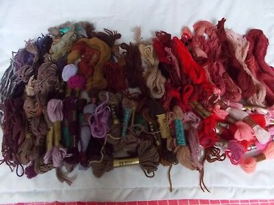 LARGE bundle of Tapestry Wool. Reds and Purples.