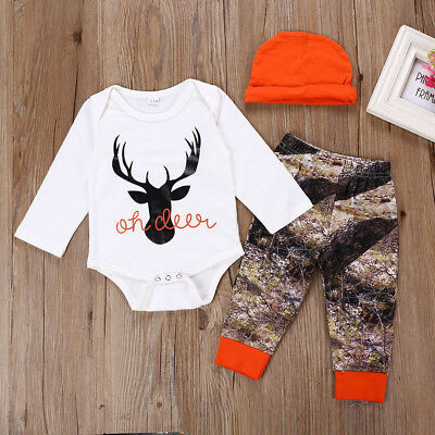 Newborn Infant Baby Boy Girl Deer Romper Tops+Pants Christmas Outfit Clothes Set
