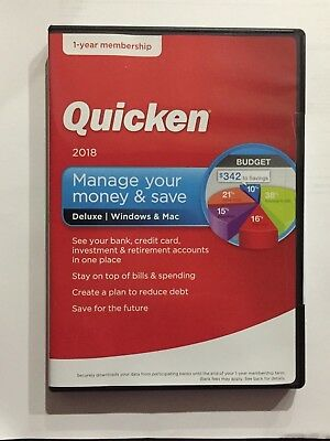Quicken Deluxe 2018 - Brand New in Unopened Box - WIndows and Mac - Free Ship